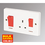 Crabtree 45A 2-Gang DP Cooker Switch & 13A Plug Socket White