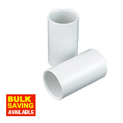 Tower Heavy Conduit Couplings 20mm White Pack of 2