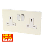 Varilight 2-Gang DP White Choc Switched 13A Socket with Metal Rocker
