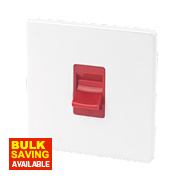 Varilight 1-Gang 45A Ice White / Red Cooker Switch