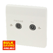MK Logic Plus 1-Gang TV & FM/DAB Coaxial Diplexer Socket White