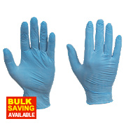 Cleangrip Vinyl Powdered Disposable Gloves Blue Medium Pk100