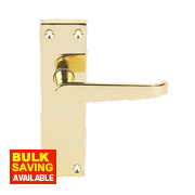 Long Back Victorian Contract Latch Door Handle Pack Brass Effect