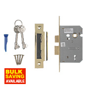 "Smith & Locke 3-Lever Mortice Sashlock Electric Brass 2½"" / 64mm"