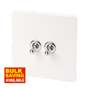 Varilight 2-Gang 2-Way 10A Ice White Metal Toggle Switch