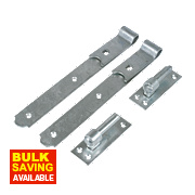 Gate Hinges Straight Hook & Band Pack Spelter Galvanised 50 x 300 x 140mm