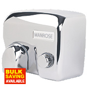 Manrose MAN/E-88C Push-Button Hand Dryer Polished Chrome 2.4kW