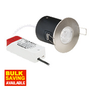 Aurora 30, 60 & 90min Fire Rated Fixed Round Bathroom LED Downlight IP44 Satin Nickel 8W