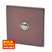Varilight 1-Gang 2-Way 6A Mocha Metal Push On / Off Switch