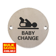 Baby Change Sign Satin Stainless Steel 76mm
