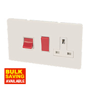 Varilight Ice White Cooker Panel with 45A Switch & 13A Switch Socket