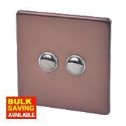 Varilight 2-Gang 2-Way 10A Mocha Metal Push On / Off Switch