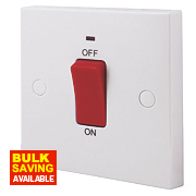 British General 45A 1-Gang Double Pole Cooker Switch with Neon White