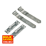 Gate Hinges Cranked Hook & Band Pack Spelter Galvanised 40 x 356 x 150mm Pack of 2