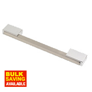 Fingertip Design Rectangular Handle Satin Nickel & Polished Chrome 160mm