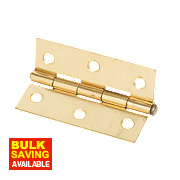 Steel Loose Pin Hinges Electro Brass 76 x 29mm Pack of 20