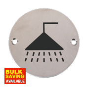 Shower Sign Satin Stainless Steel 76mm