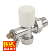 Angled Radiator Valve & Drain Off 15mm x ½""