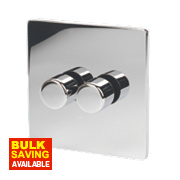 LAP 2-Gang 2-Way Dimmer Switch Mains/Low Voltage 250W Polished Chrome