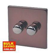 Varilight 2-Gang 1 / 2-Way Mocha Push Dimmer 2 x 250W