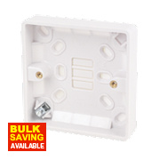 LAP 1-Gang Surface Pattress Box with Earth Terminal White 16mm