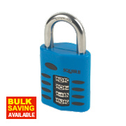 Squire Die-Cast Steel Combination Padlock Blue 50mm