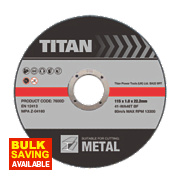 Titan Metal Cutting Discs 115 x 1 x 22.23mm Pack of 3