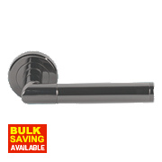 Serozzetta Trend Lever on Rose Modern Door Handle Pair Black Nickel