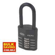 Squire Die-Cast Steel Combination Long Shackle Padlock Black 60mm