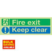 "Nite Glo ""Fire Exit Keep Clear"" Sign 150 x 450mm"