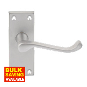 Victorian Scroll Lever Latch on Short Backplate Pair Satin Chrome