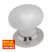 Jedo Porcelain Mortice Knob Pair White & Polished Chrome 60mm