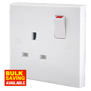 British General 13A 1-Gang Double Pole Switched Plug Socket White
