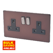 Varilight 2-Gang 13A Mocha DP Switched Socket with Metal Rockers