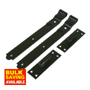 Cranked Gate Hinge Pack Powder-Coated Black 40 x 356 x 150mm Pack of 2