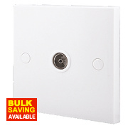 British General 1-Gang Coaxial Socket White