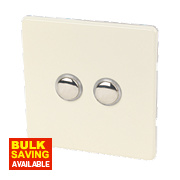 Varilight 2-Gang 2-Way 6A White Choc Metal Push On/Off Switch