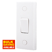 British General 1-Gang 2-Way 10AX Architrave Narrow Light Switch White