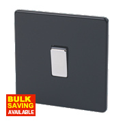 Varilight 1-Gang 10A Jet Black Intermediate Metal Rocker Switch
