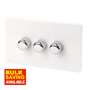 Varilight Ice White 3-Gang 1/2-Way Push Dimmer 3 x 250W