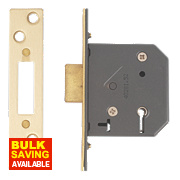 "Yale 5-Lever Mortice Deadlock Polished Brass "" / 64mm"