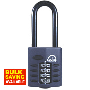 Squire Zinc Die-Cast Construction All-Weather Combi Padlock Long Shackle Black 40mm