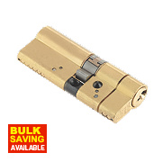 Yale AS Platinum Euro Cylinder 35-45 (80mm) Polished Brass