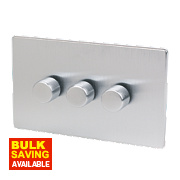 LAP 3-Gang 2-Way Dimmer Switch Mains/Low Voltage 250W Brushed Chrome