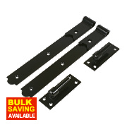 Gate Hinges Straight Hook & Band Pack Powder-Coated Black 40 x 356 x 150mm