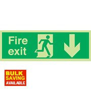 "Nite Glo ""Fire Exit"" Down Arrow Sign 150 x 450mm"