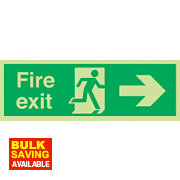 "Nite Glo ""Fire Exit"" Right Arrow Sign 150 x 450mm"