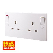 British General 13A 2-Gang DP Switched Plug Socket w. Outboard Rocker White