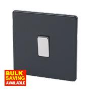 Varilight 1-Gang 2-Way 10A Jet Black Metal Rockers Switch