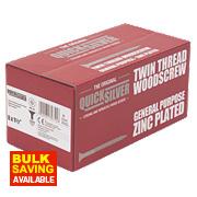 "Quicksilver Zinc-Plated Woodscrews Double-Countersunk 8ga x 1½"" Pk1000"